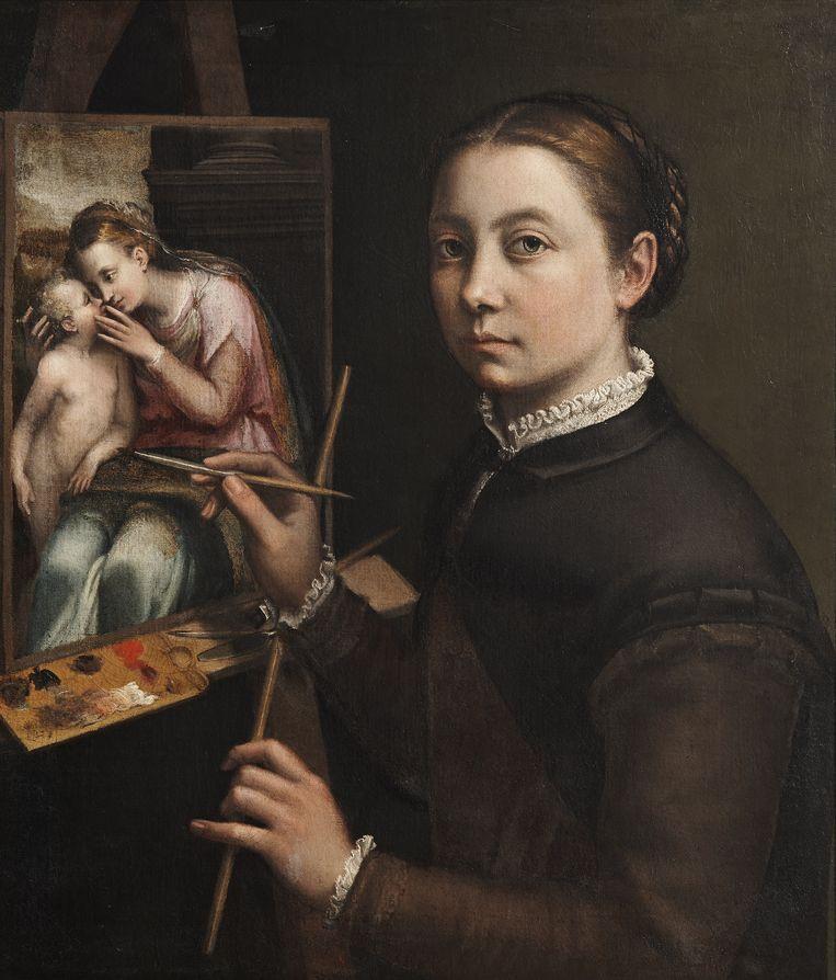Sofonisba Anguissola, Zelfportret aan de schildersezel, ca. 1556–1557.  Beeld Muzeum-Zamek, Lancucie