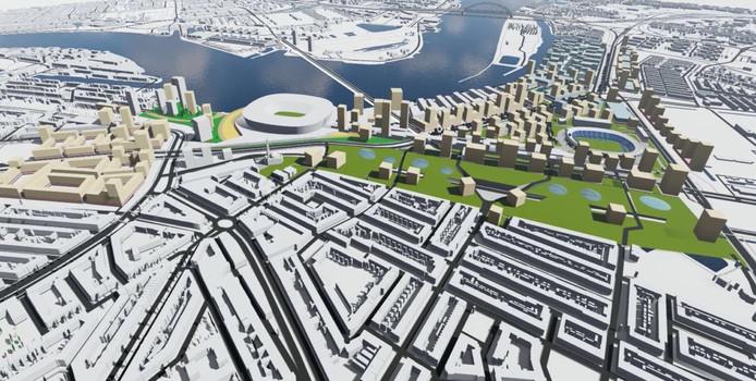 De initiatiefgroep Feijenoord XL heeft plannen voor duizenden woningen in dit gebied en een nieuwe brug naar Kralingen.