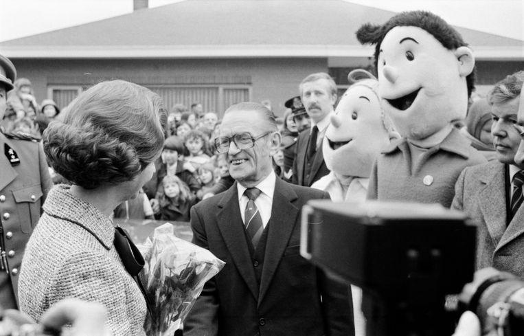 Koningin Fabiola op bezoek bij Willy Vandersteen en zijn Studio, 1983. Beeld BELGA