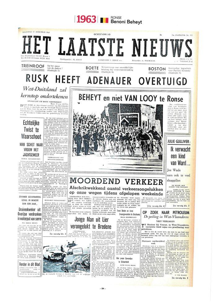 De voorpagina van 'Het Laatste Nieuws' na de wereldtitel van Beheyt in 1963.