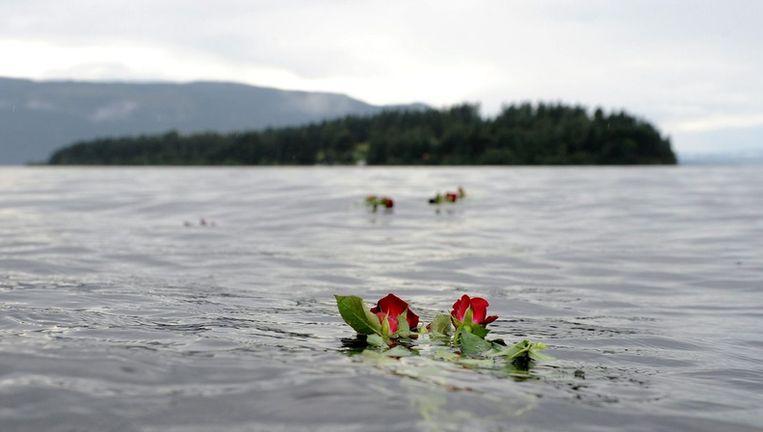 Een roos drijft in het water bij het eiland Utoya. Beeld