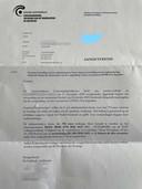 De pv die Neirinck in de bus kreeg. 750 euro boete is nu zijn deel.