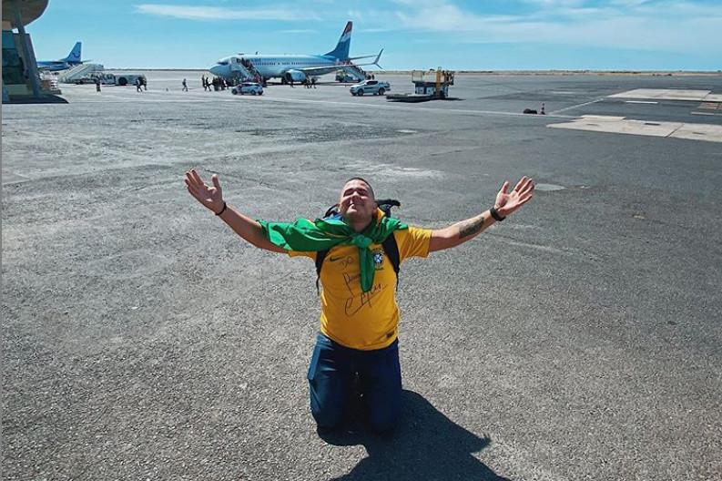 Braziliaan Anderson Dias kwam gisteren aan in het laatste land van zijn lijst: Kaapverdië.