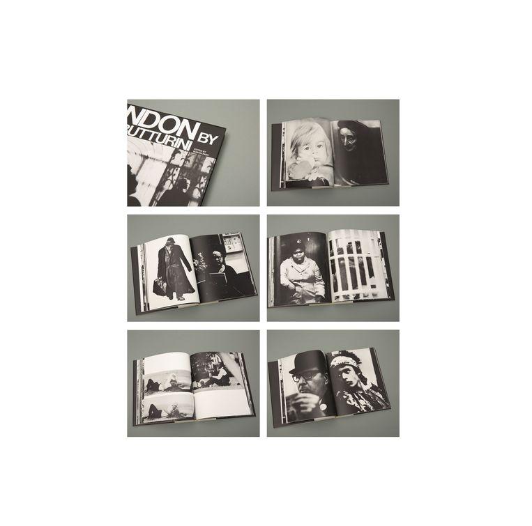 Pagina's uit het boek van Gian Butturini. Rechts in het midden de gewraakte spread. Beeld de Volkskrant