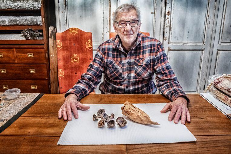 Herman Collignon toont een deel van de vondst: gedroogde sinaasappelresten en het inpakpapier van een slager die in de jaren 1940 op de Truiense Grote Markt was gevestigd. Beeld Tim Dirven