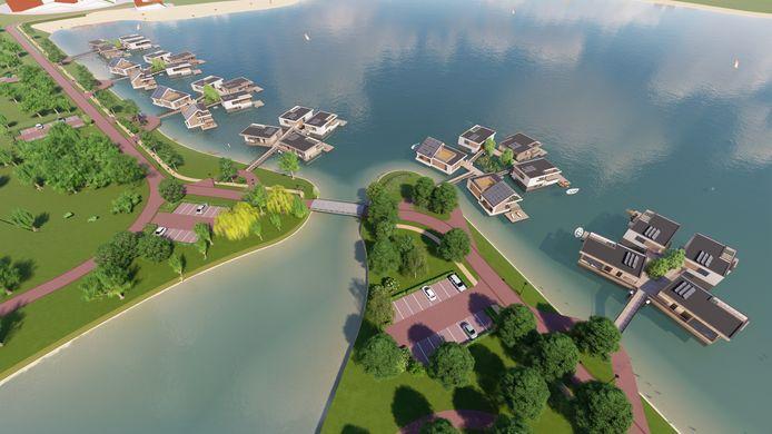Het eindresultaat, als de bouw van de 27 drijvende woningen voltooid is.