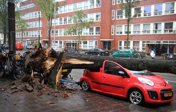 Een omgewaaide boom aan de Hoofdweg in Amsterdam heeft een auto geplet en de bovenleiding van de tram beschadigd. Volgens het KNMI was de storm die over Nederland raasde de eerste zware zomerstorm sinds 12 augustus 1914, en de zwaarste sinds werd begonnen met metingen in 1901.