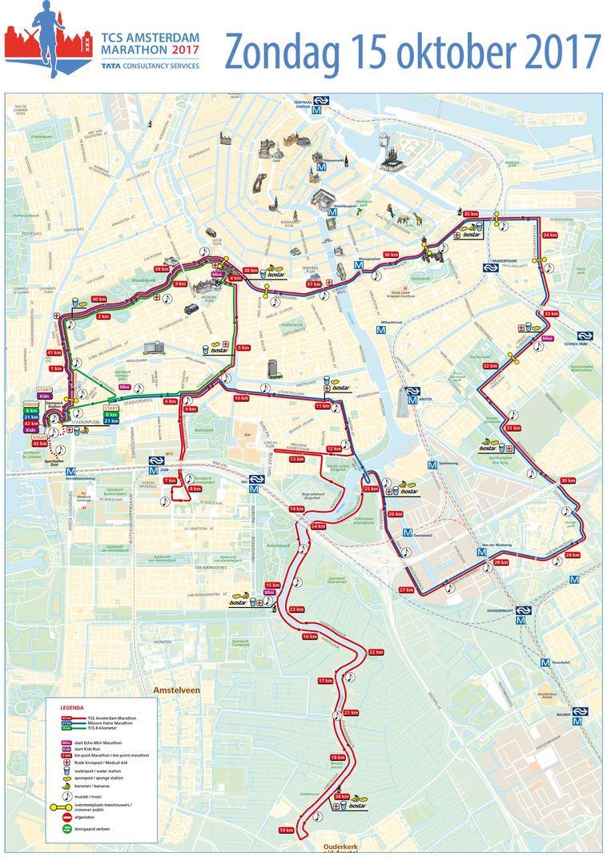 Let op: de gele markeringen geven een oversteekplaats aan. Beeld TCS Amsterdam Marathon