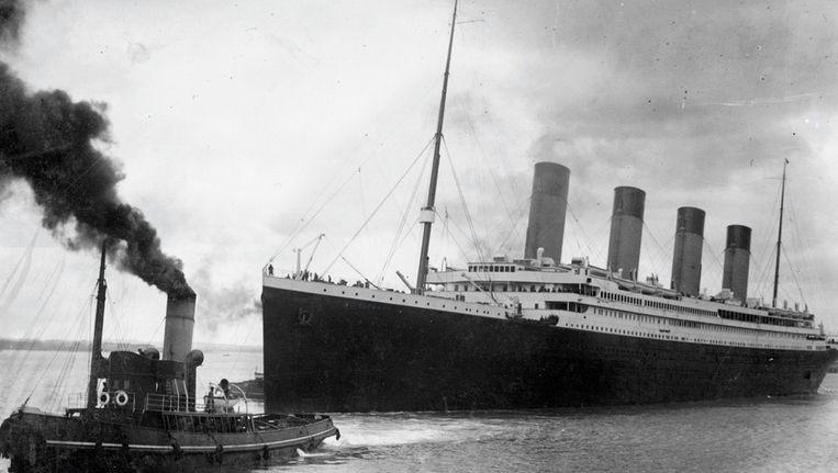 De Titanic bij haar vertrek uit Southampton op 4 april 1912. Beeld ANP