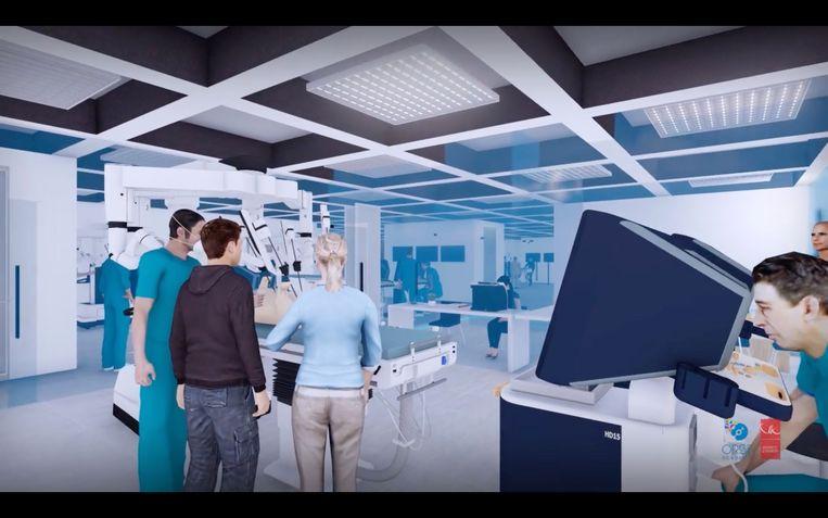Simulatie van hoe de nieuwe Orsi (OLV Robotic Surgery Institute) Academy er zal gaan uitzien. Beeld RV