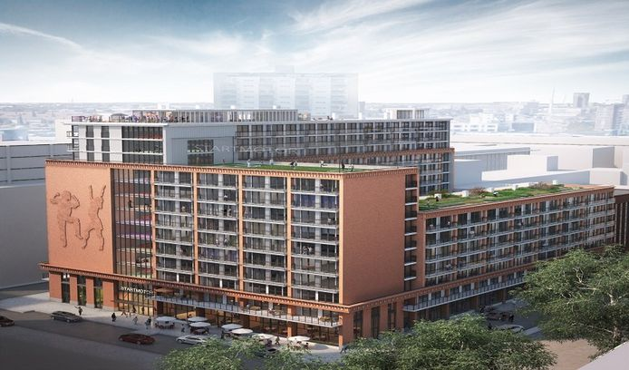Bewoners van het appartementencomplex Startmotor Rotterdam op Zuid kunnen gebruikmaken van fitnessruimtes, dakterrassen en een bioscoop. Toch staan nog veel appartementen nog leeg.