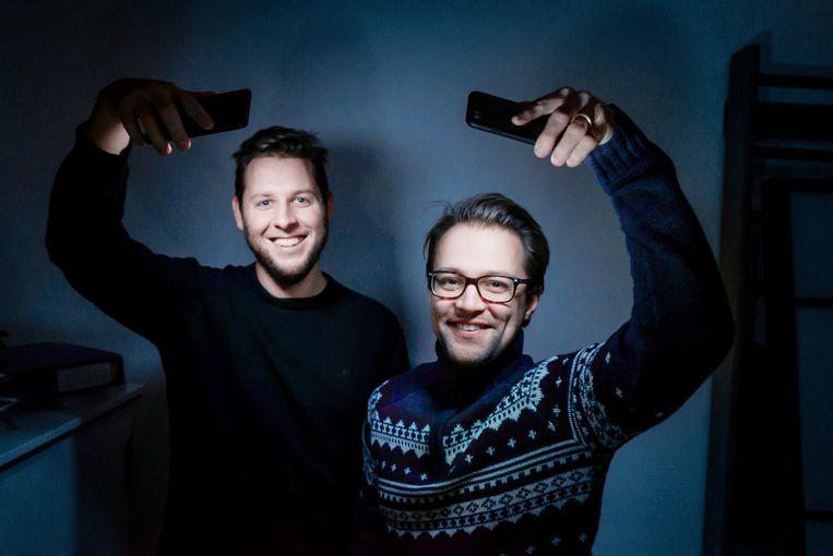 ► Jennick Scheerlinck en Jonas Heirwegh bedachten het concept Hoplr. Beeld Eric de Mildt