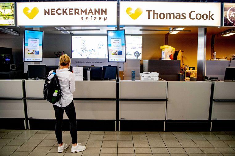 De Neckerman / Thomas Cook balie op Schiphol is gesloten. Beeld ANP