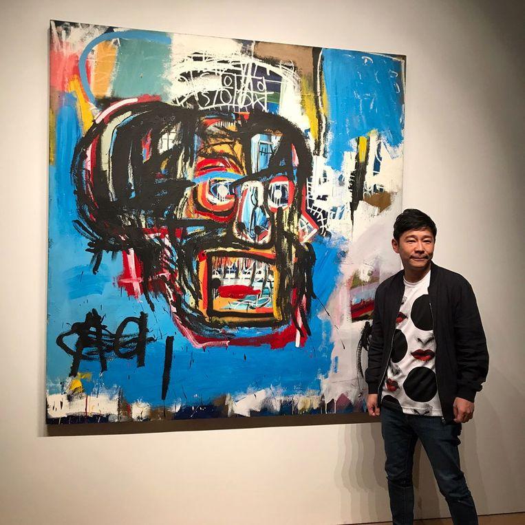 Vorig jaar in mei betaalde Maezawa 110,5 miljoen dollar voor 'Untitled' van Jean-Michel Basquiat. Beeld rv instagram/@yusaku2020