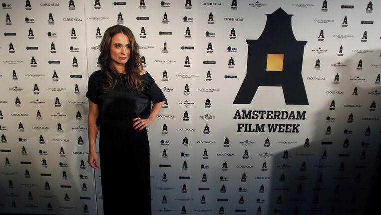 Actrice Froukje Jansen op de rode loper voor de opening van de Amsterdam Film Week. Beeld ANP