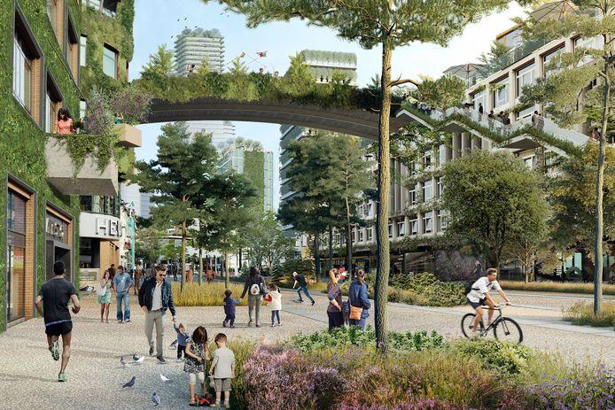 Een beeld van de binnenstad zoals die moet worden volgens Winy Maas met veel groen en hoge torens.