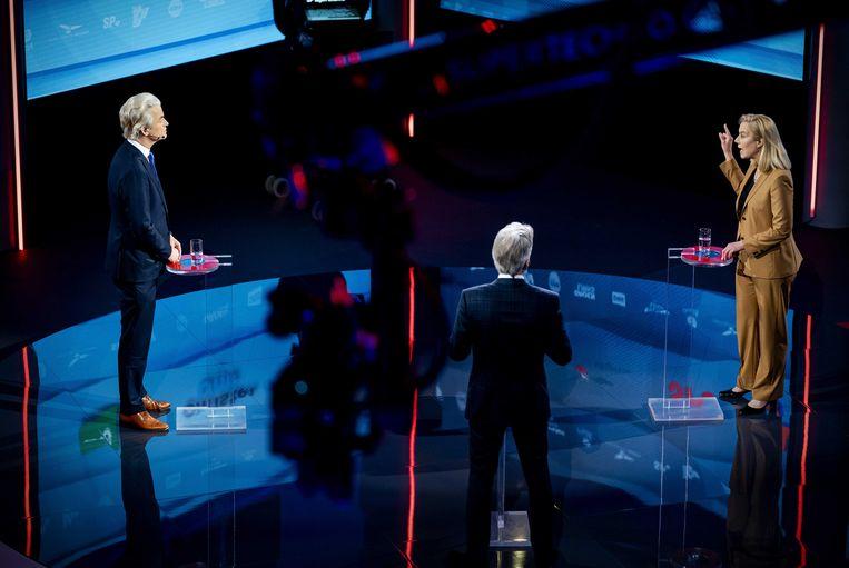 Geert Wilders (PVV) en Sigrid Kaag (D66) tijdens een verkiezingsdebat van de NOS.  Ook hier weinig aandacht voor Europa. Beeld ANP