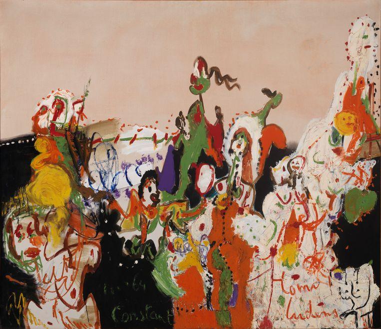 Constant (1920-2005) Homo Ludens, 1964, Olieverf op linnen, 158,8 x 183,9 cm, Collectie Stedelijk Museum Amsterdam. Beeld Tom Haartsen ©Constant / Fondation Constant c/o Pictoright, Amsterdam 2018