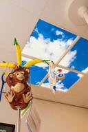 Op de kinderpoli zit bovenop de infuusstandaard een aap en is het plafond voorzien van Hollandse luchten.
