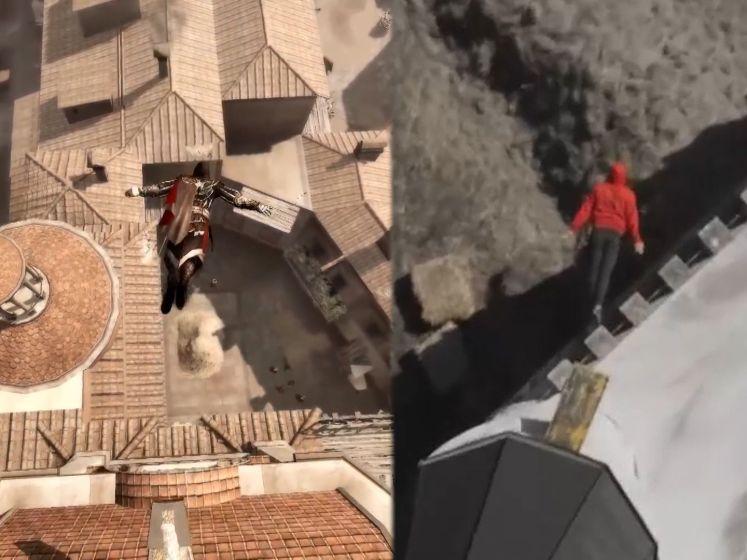 Waaghalzen voeren iconische 'Leap of Faith' van Assassin's Creed uit