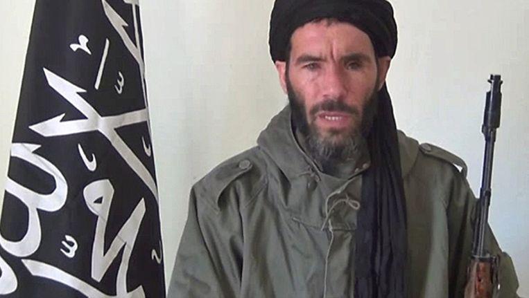 Mokhtar Belmokhtar eist in januari 2013 de aanslag op een gasveld in Algerije op in een videoboodschap. Beeld AFP