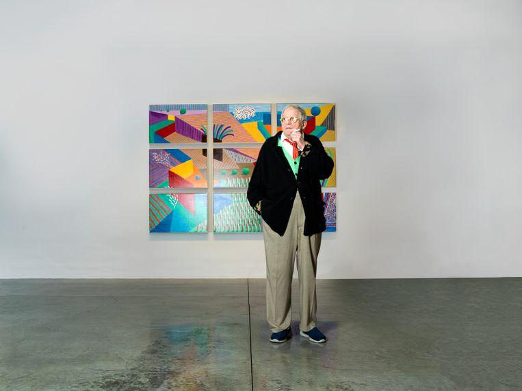 David Hockney in zijn galerie in Los Angeles. Beeld Eva Roefs