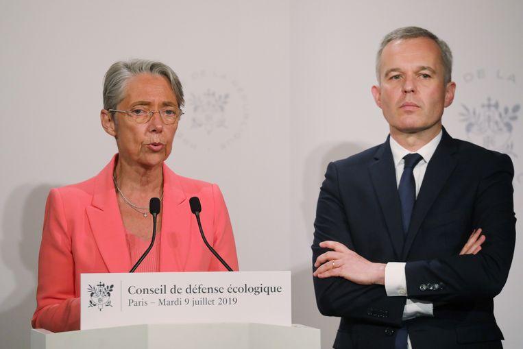 De Franse minister van Transport Elisabeth Borne en haar ambtgenoot voor Milieu François de Rugy.