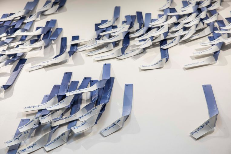 Het werk van Piet Stockmans aan de muur van KRC Genk.