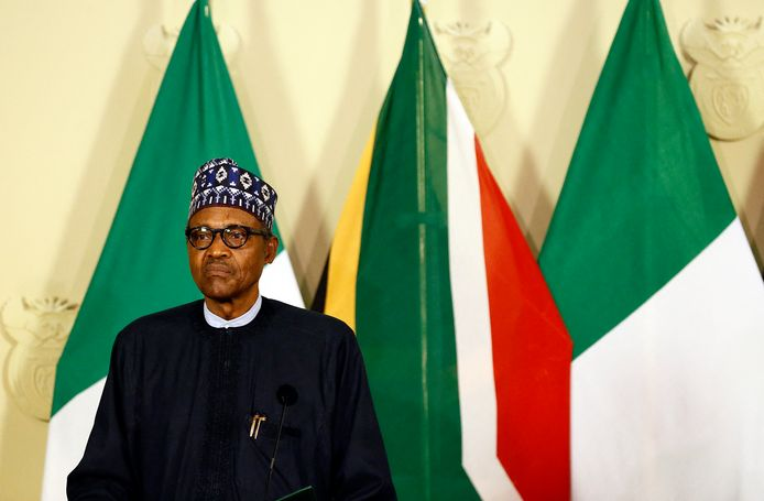 (FILES) In this file photo taken on October 03, 2019 Nigeria's President Muhammadu Buhari looks on while giving a press conference during his official state visit at Union Buildings in Pretoria. - Nigerian President Muhammadu Buhari on February 17, 2021 condemned the abduction of schoolboys from a school in central Nigeria and ordered a rescue operation, his office said. (Photo by Phill Magakoe / AFP)
