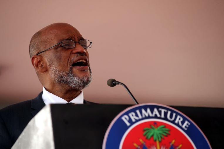 De nieuwe premier van Haïti, Ariel Henry, tijdens de inauguratieceremonie van de nieuwe Haïtaanse regering. Beeld EPA