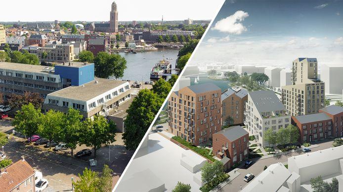 De kantoorpanden (links) aan de Schuttevaerkade maken plaats voor appartementencomplexen (rechts). De hoogte van de nieuwbouw zorgt voor reuring.