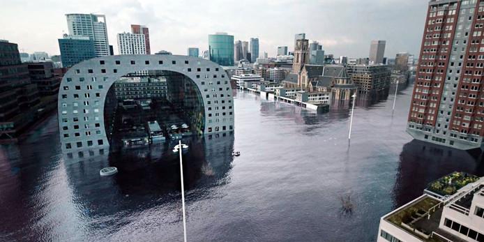 De Markthal in Rotterdam omringd door water. Uit de tv-serie 'Als de dijken breken'.