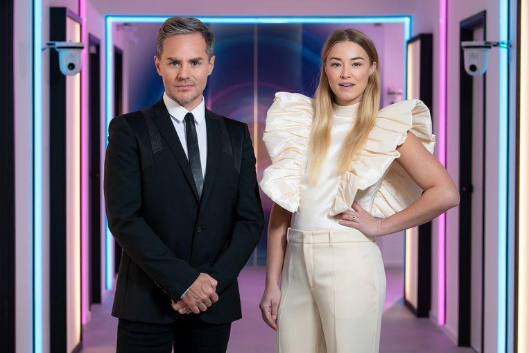 Peter Van De Veire en Geraldine Kemper presenteren de nieuwe 'Big Brother'. Beeld VIER