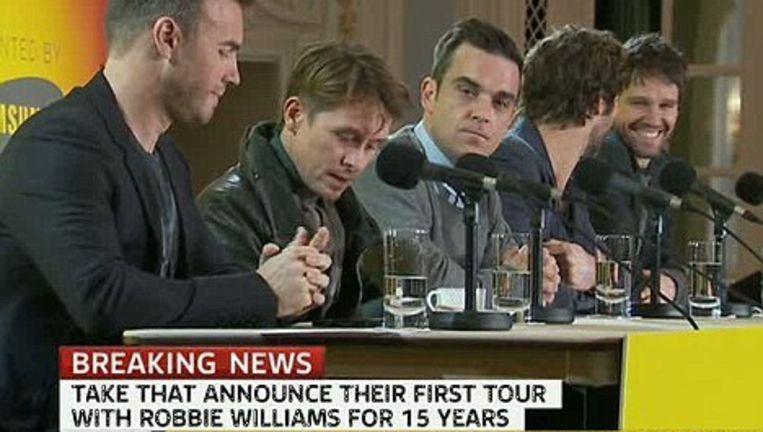 Take That kondigde hun tournee vanochtend aan tijdens een persconferentie. Beeld UNKNOWN