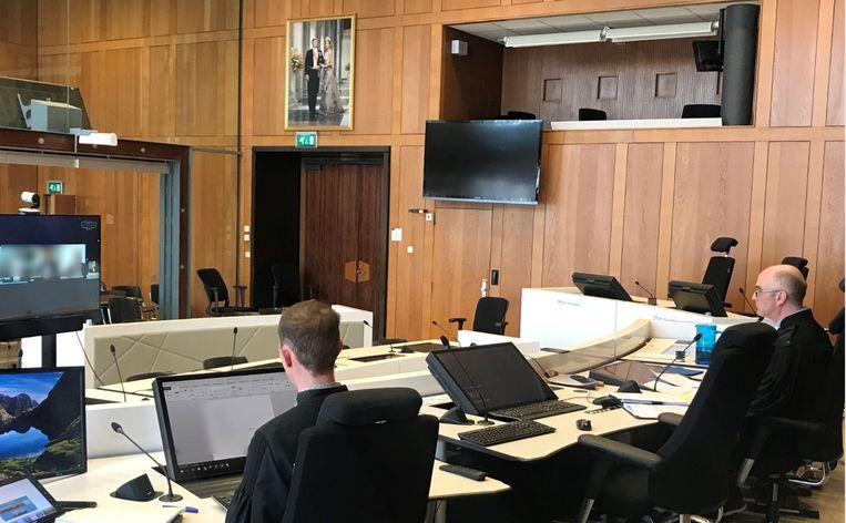 Een online zitting bij de inloopkamer Beeld Maarten Brouwer, rechtbank Gelderland