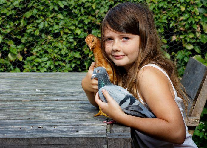 Fien met haar kip Mosterd en de duif die het ei uit de supermarkt heeft uitgebroed.