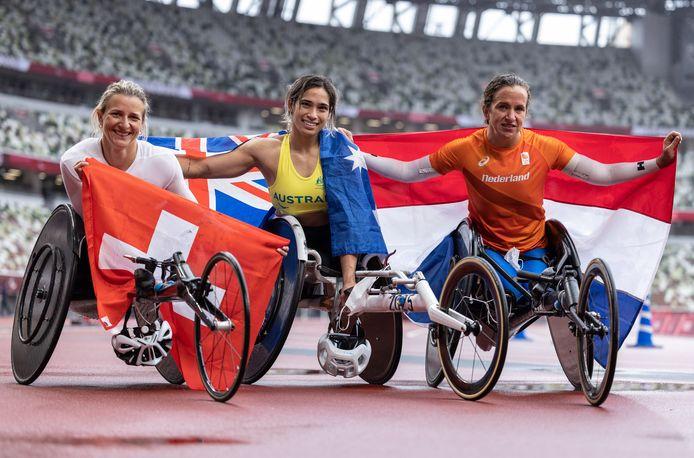 Manuela Schaer, Madison De Rozario en Nikita Den Boer.
