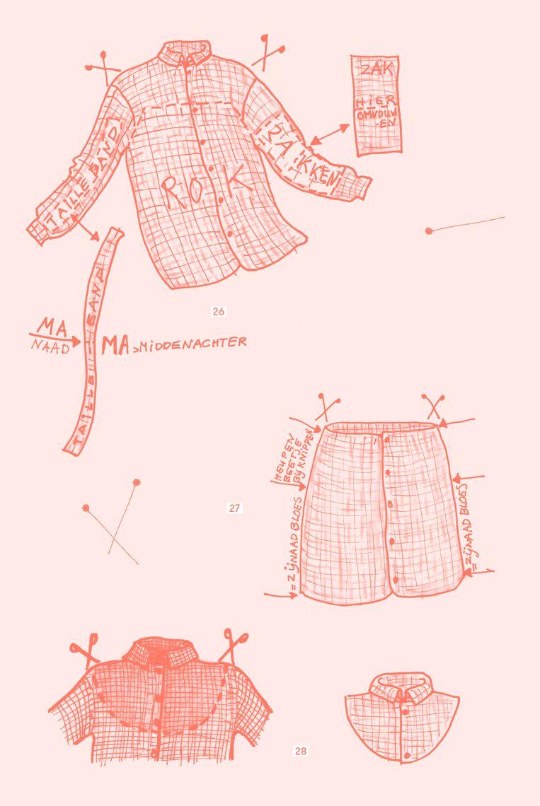 'Er is heel goed nagedacht over de werkwijze bij kleding naaien, alles heeft een functie.'   Beeld Pieke Stuvel, uit Het grote naaiboek