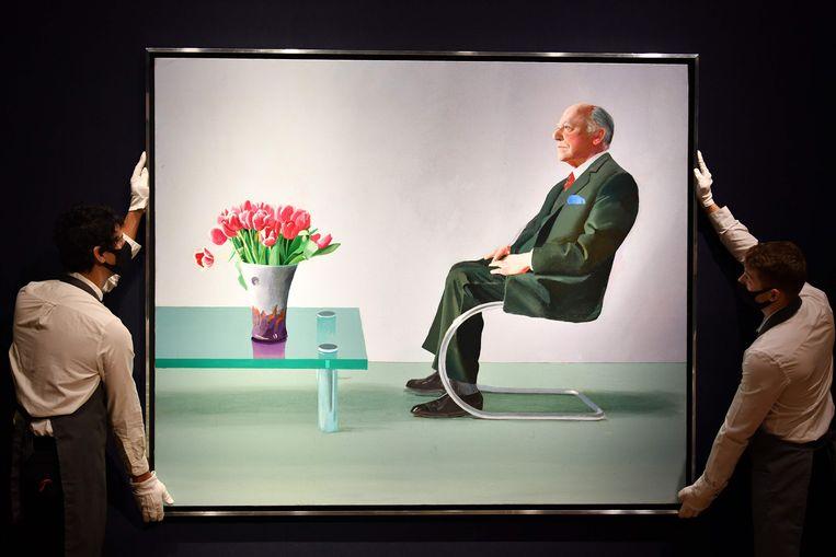 Hockney: 'Portrait of Sir David Webster'. In 2020 geveild voor 15 miljoen. foto aFp  Beeld AFP