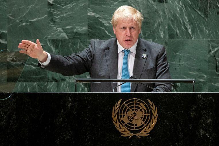 Boris Johnson spreekt de Algemene Vergadering van de VN toe. Beeld REUTERS
