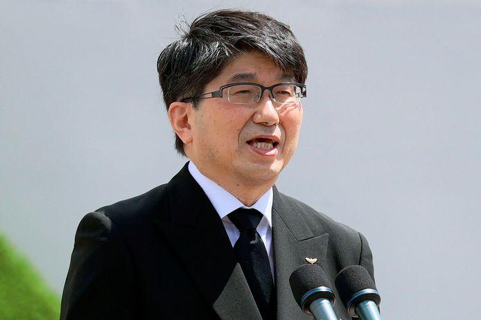 De burgemeester van Nagasaki, Tomihisa Taue, moedigde wereldleiders tijdens zijn toespraak aan om zich beter in te zetten voor een akkoord over een nucleair wapenverbod.