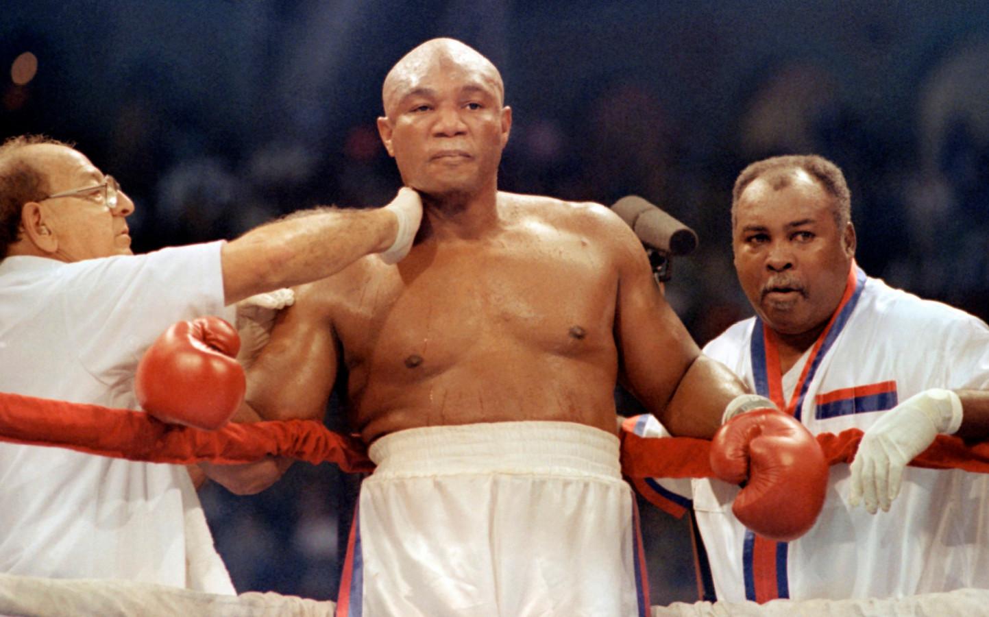 George Foreman in 1991, drie jaar voordat hij op 45-jarige leeftijd wereldkampioen in het zwaargewicht werd.
