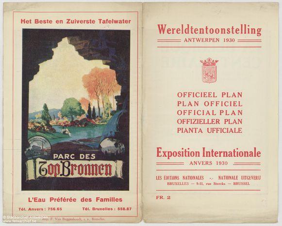 Omslag archief van de wereldtentoonstelling van 1930 in Antwerpen.