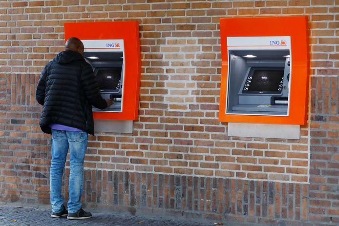 Een pinautomaat van de ING Bank