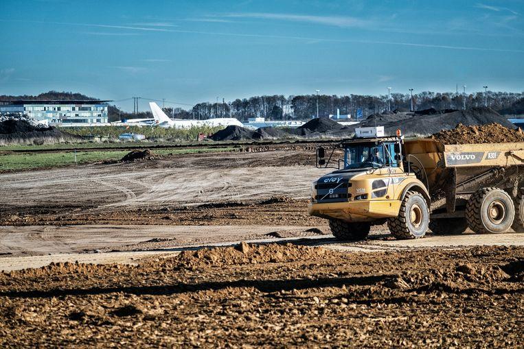 Bij de luchthaven van Luik bouwt Alibaba binnenkort een enorm goederenmagazijn.  Beeld DIRVEN TIM