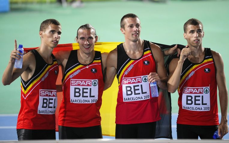 Kevin Borlee, Cedric Van Branteghem, Arnaud Destatte en Jonathan Borlee.