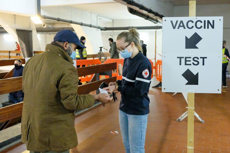 Of het testcentrum in Schaarbeek, waar de simulatie plaatsvond, ook als vaccinatiecentrum zal ingericht worden, is nog niet beslist. Beeld Marc Baert