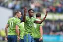 Kelvin Leerdam viert zijn doelpunt in de finale van de MLS voor Seattle Sounders