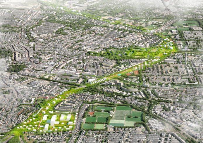 Het nieuwe hart van Roosendaal met de overkluisde A58. Linksonder is de grond van het 'oude' Bravis ziekenhuis al weer volgebouwd. Het groen bovenin is het fors uitgebreide park Vrouwenhof.