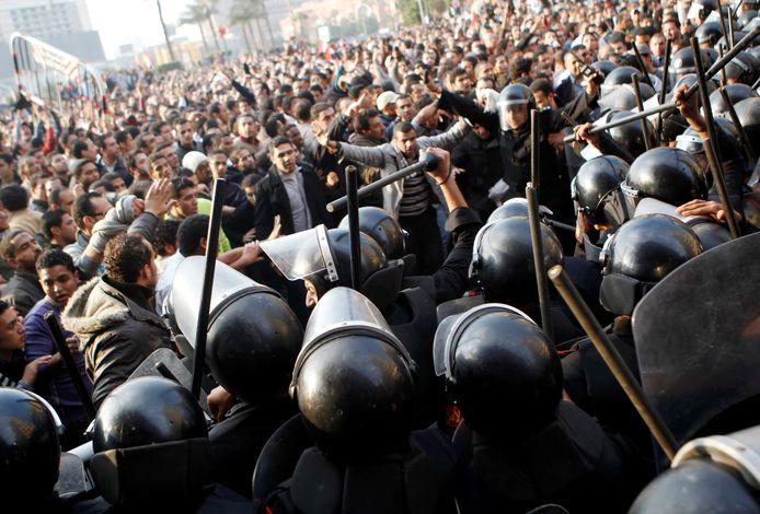Op 25 januari 2011 brak protest uit tegen de regering op het Tahrirplein in Caïro.